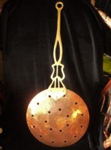 VINTAGE HAMMERED COPPER SKIMMER WITH ARTS CRAFTS LOOK BRASS HANDLE COPPER RIVETS